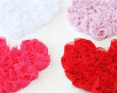 Shabby Chiffon Heart Sewing Embellishment for shirts, aprons, dresses baby choose 1- Red, Hot pink,  light pink, or white