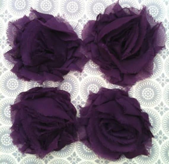 4 Plum Shabby Chiffon Flowers for making headbands & crafts dark purple violet wholesale