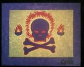 Purple Fire Skull Pyrate Flag