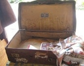 Vintage Leather Suitcase with Original Travel Labels Battered but Beautiful