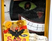 Black Cat Mixed Media Diorama Magnet Decoration