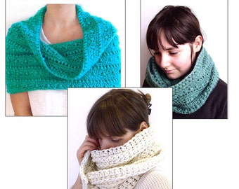 3 Crochet patterns Pdf SET- 2xcrochet cowl 1x crochet scarf