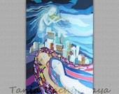 ORIGINAL painting on silk. Hand dyed silk. Fine Batik Watercolor Wall Art. Man & Woman. Angel. Violinist. City. 18'' x 28'' Ready to ship