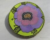 Original handmade textile brooch. Colorful  flower. Pink. Light green. Blue. Purple.