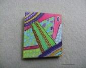 Original handmade textile brooch. Textile jewelry. Handmade silk. abstract. Pink. Turquoise. Blue. Green. Size: 3'' x 2 2/4''