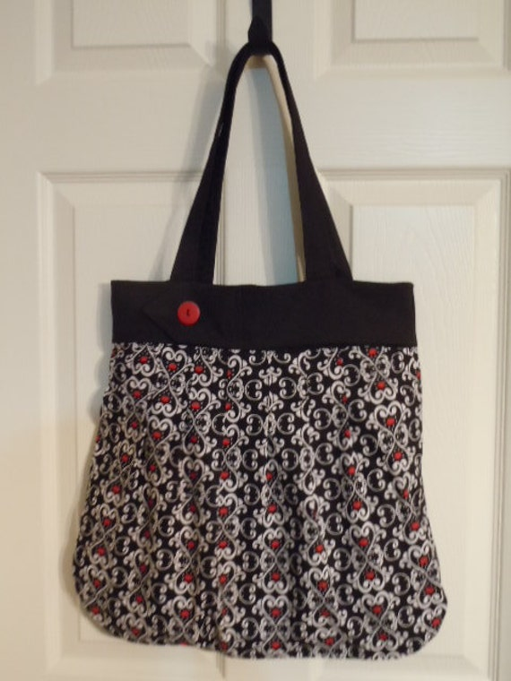 Ready to Ship.  Black  Purse/Tote Bag with Red Accents