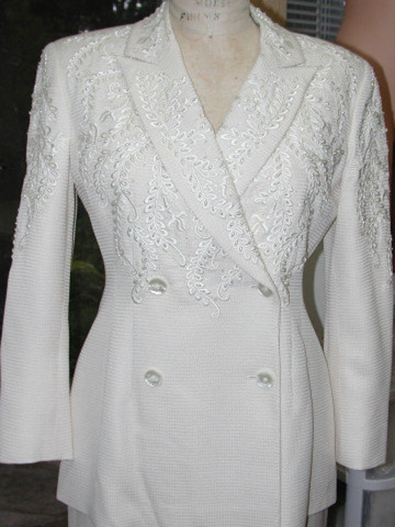 Vintage Ivory Silk Suit for Bridal, Wedding Badgley Mischka Hand Embroidered