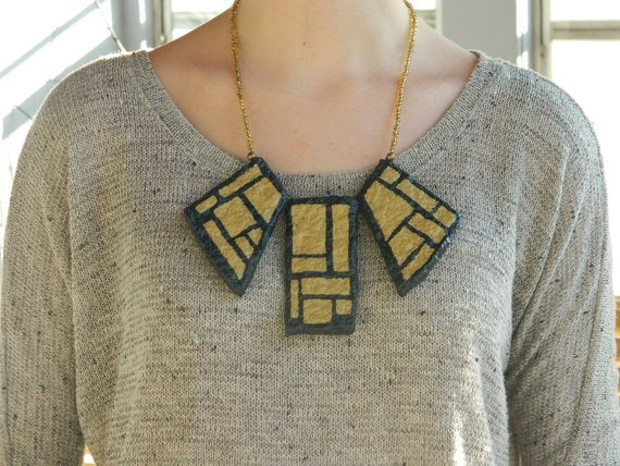 The Giant's Causeway Recycled bib necklace- in geometric art deco navy and gold