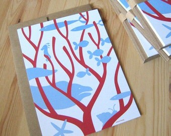 RED CORAL / Recycled Note Cards