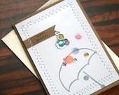 Handmade Happy Bridal Shower Card (or Baby Shower Card) Hand Stamped Umbrella Design