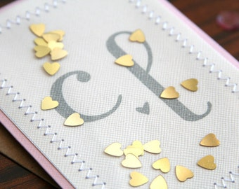 Personalized Custom Handmade Wedding Congratulations Card - Hand Stamped Initials Gold Hearts Confetti Design