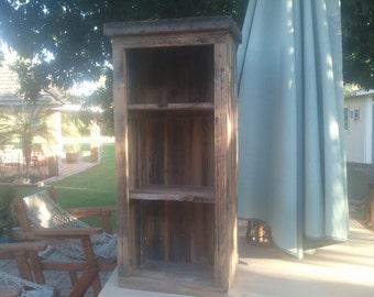 hand planed barnwood open cabinet