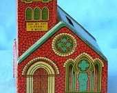 Highly Collectible Antique Vintage J. CHEIN Lithograph Tin CHURCH BANK Made In The Depression Years