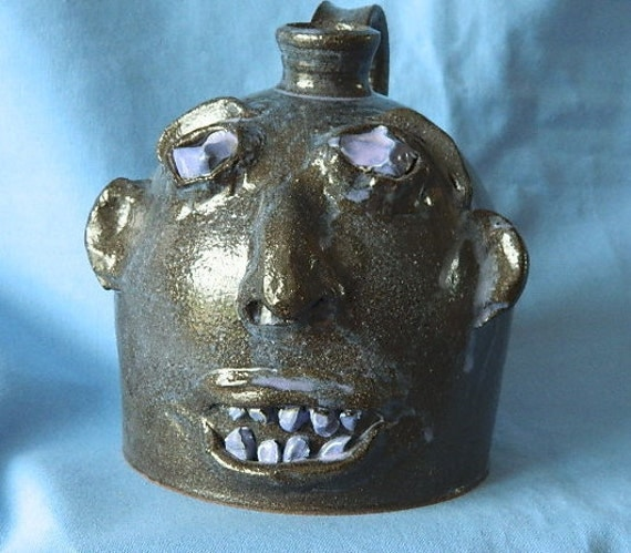 """On Hold For Eve Bogan Thru 8/18 NORTH CAROLINA Mountains """"Ugly"""" High Glaze  Ceramic Face Moonshine JUG Created And Signed By Marvin Bailey"""