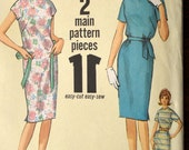 Vintage 1960 Junior Teen Shift Tie Dress Pattern - Simplicity 4919 - Sz 16, Bust 36 Waist 28 Hip 38 Kimono Sleeve