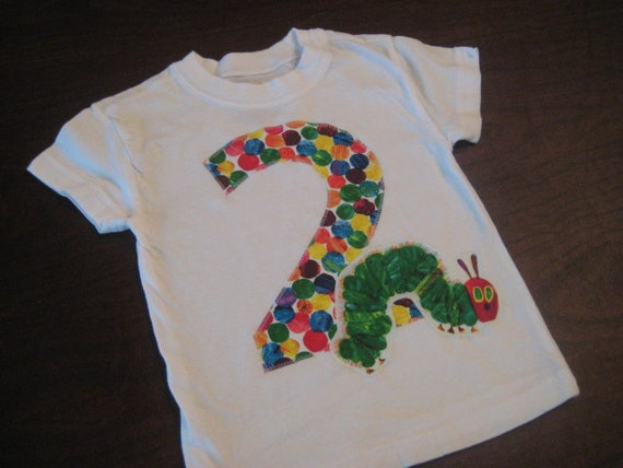 Very Hungry Caterpillar Boys Second Birthday Short Sleeve shirt, 2/3T, Ready to Ship