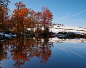 Seasonal Collision Autumn Landscape, Mountain Landscape, Country Pond Photo,Woodland Trees