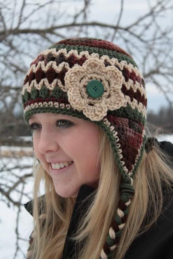 Crochet Flower Earflap Hat Brown, Green & Cream/Ready to Ship