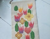 Swedish vintage tapestry Embroidered Spring flowers