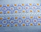 SALE Swedish vintage 1960s table runner Embroidery in blue, purple, yellow, pink and white