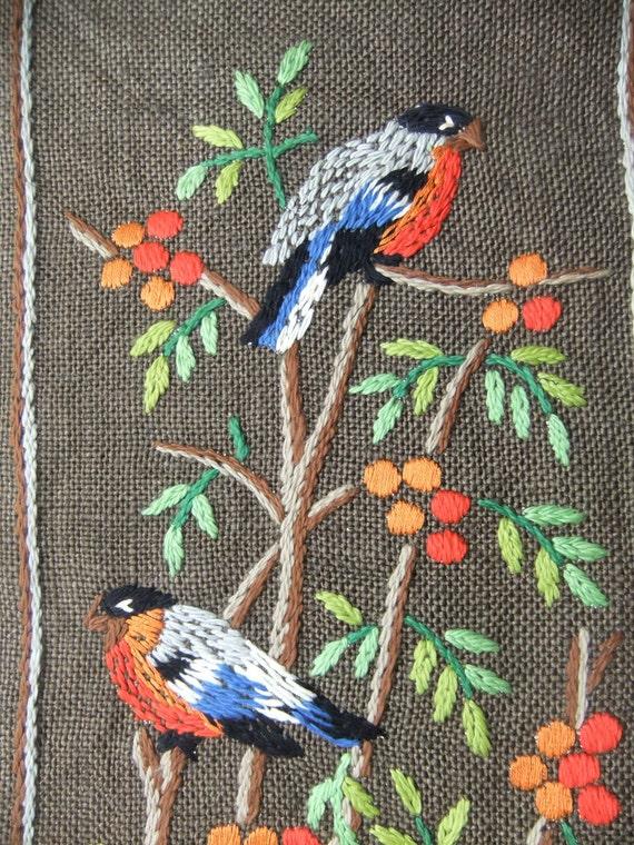 Vintage Swedish Wall hanging Birds in a rowanberries tree