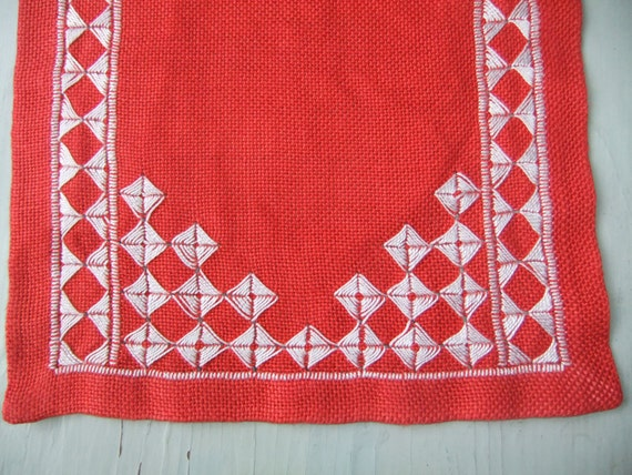 Vintage Swedish Table runner Red linen White embroidery