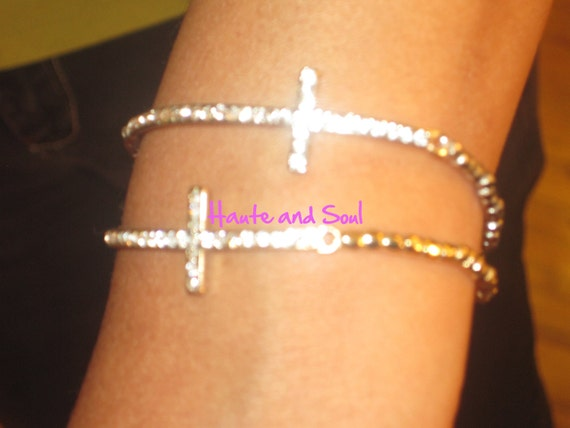 Sale Beaded Silver or Gold  Crystal Curved Cross Bracelet