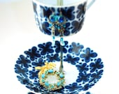 Jewelry stand in Royal Blue made of Mon Amie Antique China