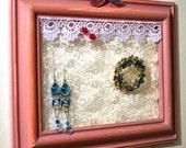 Jewelry Display Frame, Wood Blush Pink