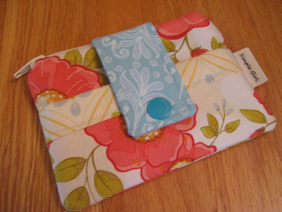 Small Zippered Wallet in Tangerine Flowered Fabric