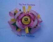 John Deere Girl pink green yellow bottle cap hair bow on clip 4.5 inch bow grosgrain ribbon