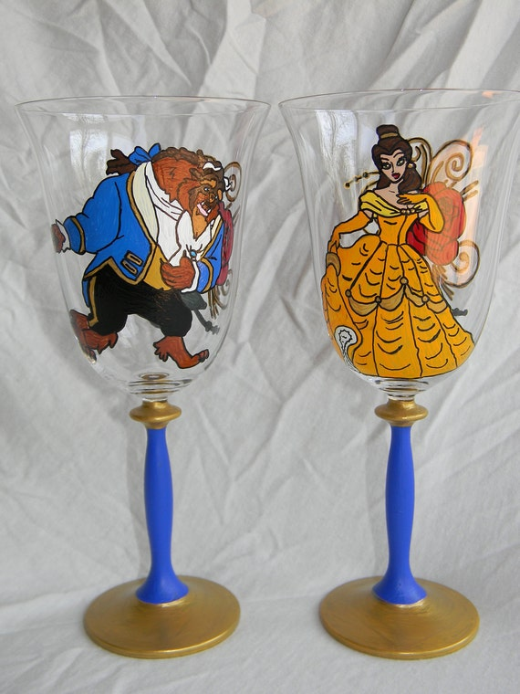 Beauty and the Beast Inspired Hand Painted Wine Glasses