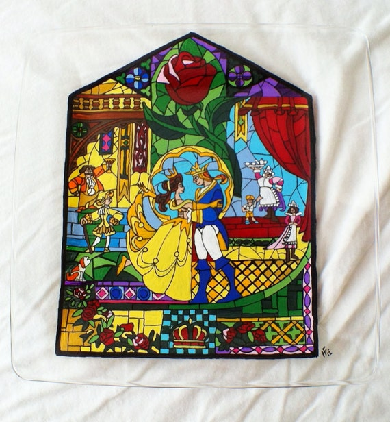 Beauty and the Beast Inspired Hand Painted Glass Plate