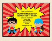 Super Hero Birthday Invitation (boy or girl) printable twins combined party
