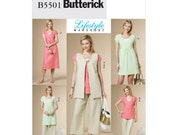 Butterick Sewing Pattern B5501 - Misses'  Vest, Top, Dress, Pants (8-14)