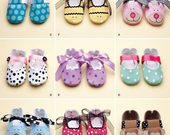 Simplicity Sewing Pattern 0481 (or 2491) - Baby and Infant Shoes (XS - L)