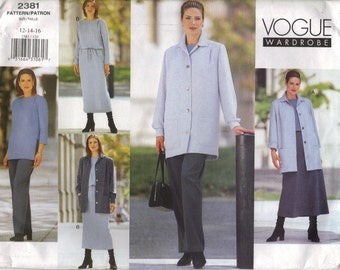 Vogue Sewing Pattern 2381 - Misses' Jacket, Dress, Top, Skirt & Pants (12-16)