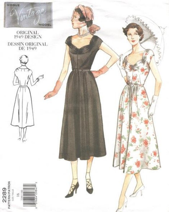 Vogue Vintage Sewing Pattern 2289 - 1949-Style Dress & Belt