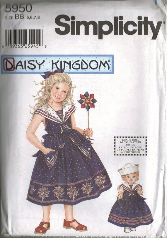 """Simplicity """"Daisy Kingdom"""" Sewing Pattern 5950 - Child's Dress and Doll Dress (5-8)"""