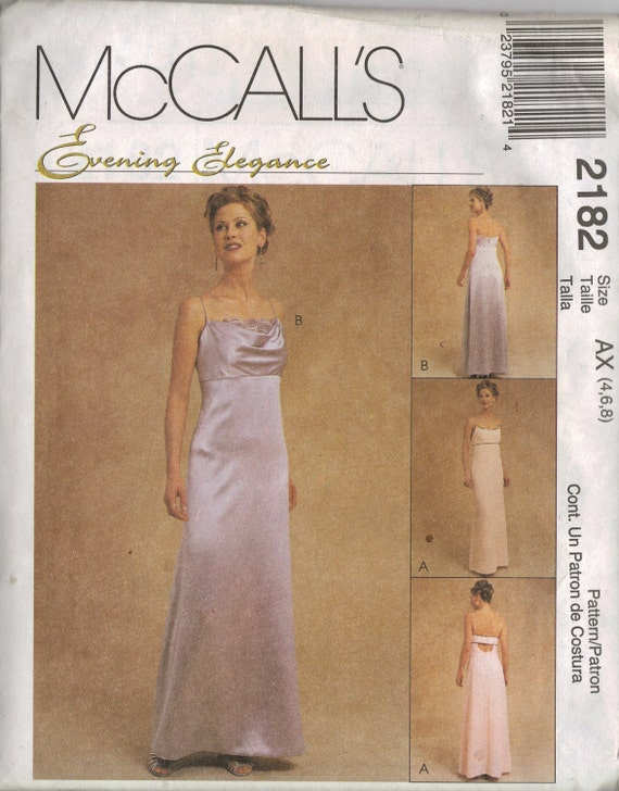 """McCall's """"Evening Elegance"""" Sewing Pattern 2182 - Misses' Lined Gown (4-8 or 8-12)"""