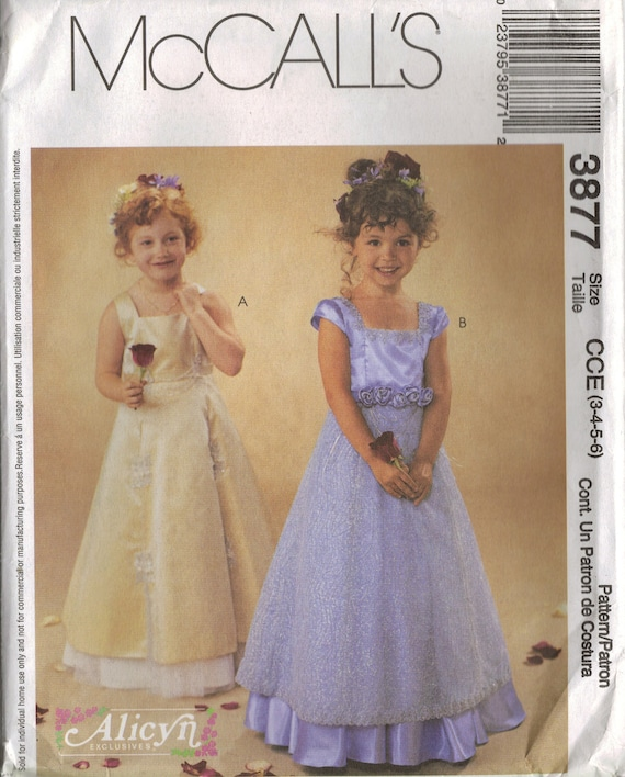 McCall's Sewing Pattern 3877 - Children's and Girls' Flower Girl Dresses (6-8)