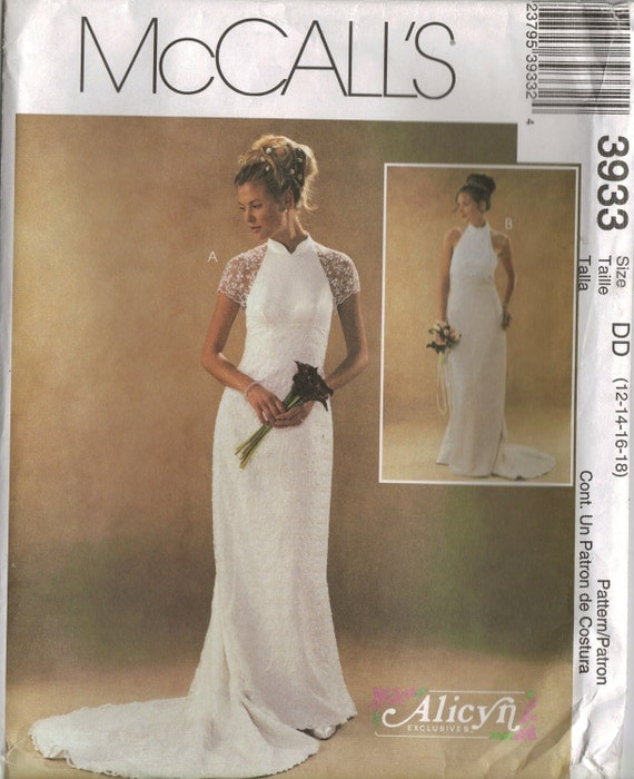 Mccall 39 s sewing pattern 3933 lined wedding dresses for Wedding dress patterns mccalls