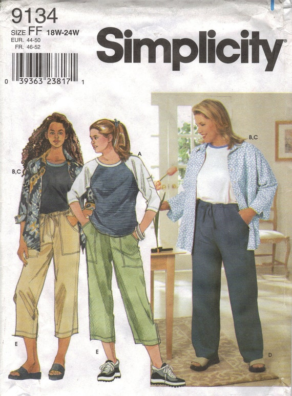 Simplicity Sewing Pattern 9134 - Women's Shirt, Pants, and Knit Top (18w-24w, 26w-32w)
