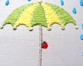 Hand Embroidered Umbrella with Ladybug - wall hanging, 4 inch hoop, great for kids, nursery room, custom color available