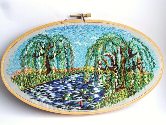 RESERVED - Hand Embroidered Weeping Willow with Blue Sky - colorful decoration, beautiful art, oval hoop art, nature, home decor