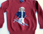 sz M red sweater / Ralph Lauren super cute or ugly ski bear pullover