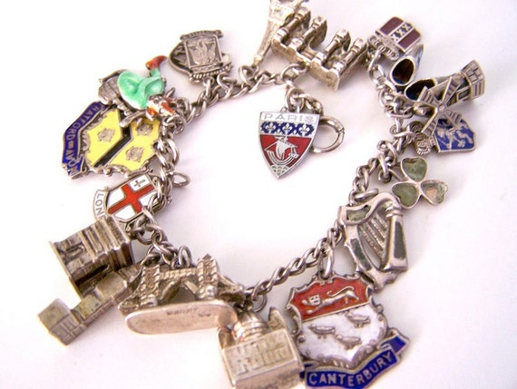 1950s charm bracelet / Made in England 21 Silver charms