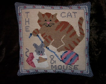 Cat & Mouse TapestryThrow Pillow for sofa or bed, Handmade