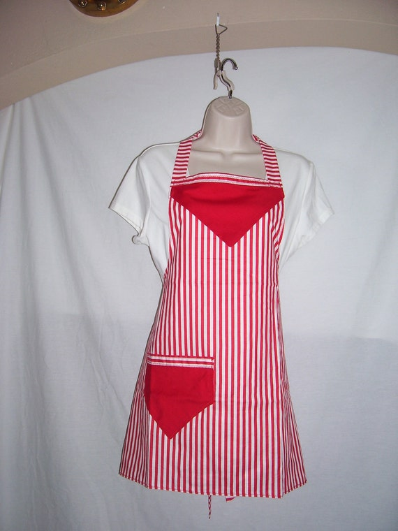 Cute Candy striped, Small to large, Handmade full apron