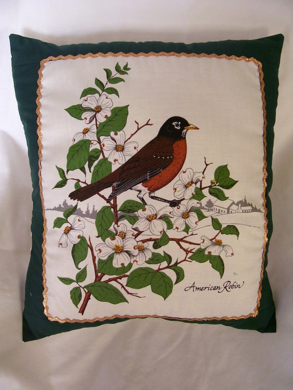 American Robin Bird Throw Pillow for sofa or bed, gold embellished, Handmade